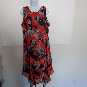 Taylor Woman Red and Blue Floral Dres